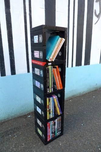vhs video book dvd shelf diy