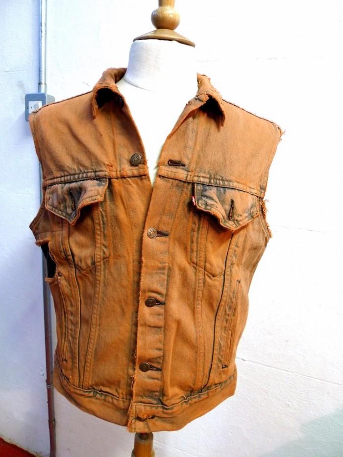 dyed stitched distressed levis denim vest