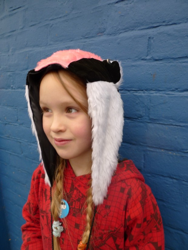 punk badger hat hood faux fur
