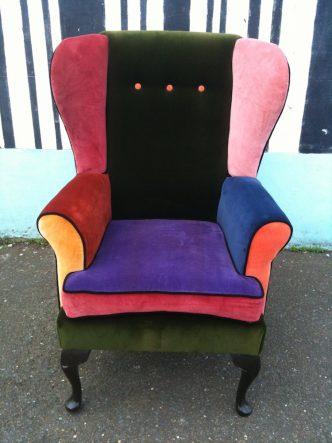 reupholstered velvet wingback chair