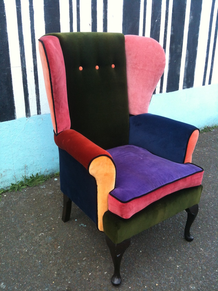 reupholstered velvet wingback chair