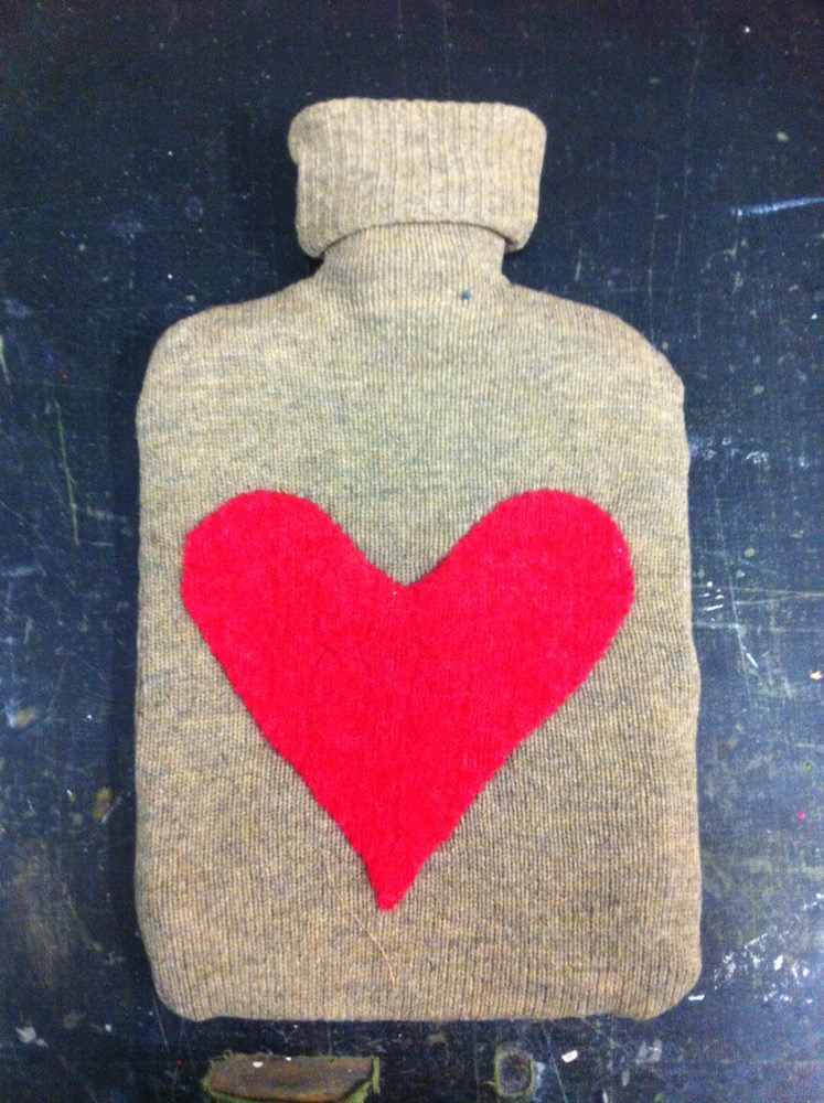 upcycled wool hotwater bottle heart