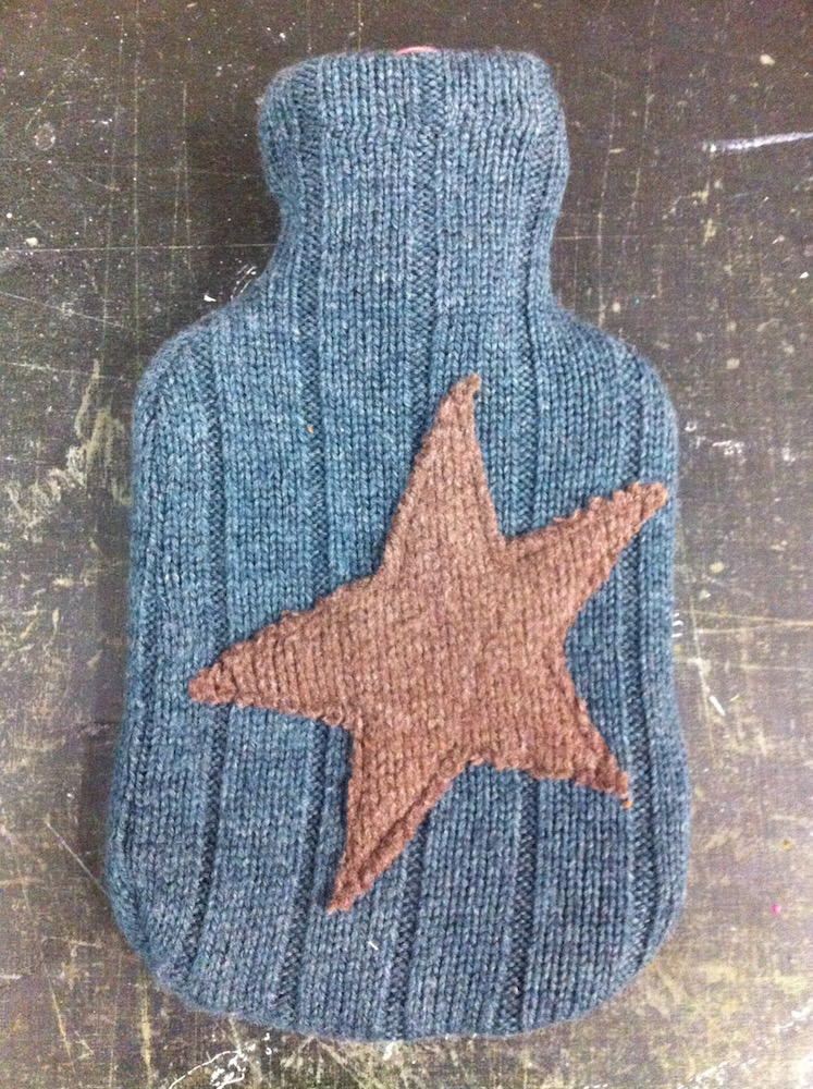 upcycled wool hotwater bottle star