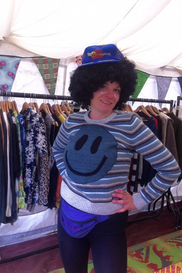 stripy acid smiley wool jumper
