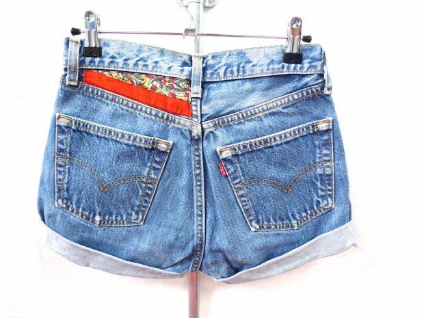 customised denim shorts back