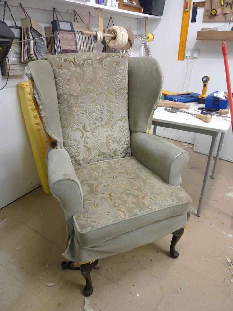 wingback chair in progress