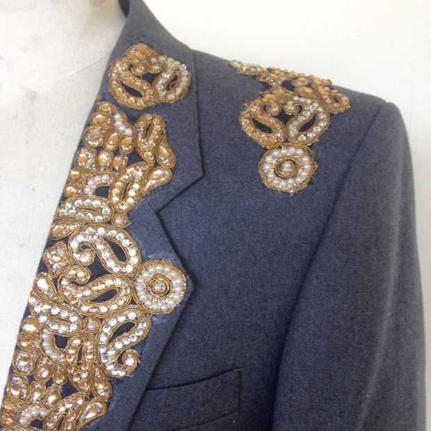 embellished suit jacket collar