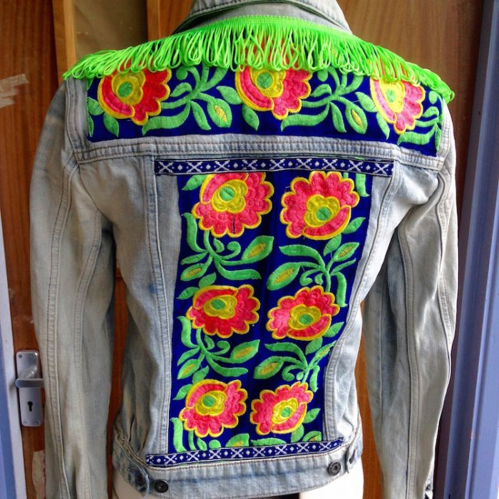 denim jacket neon floral trim