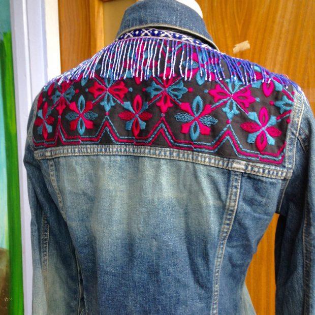 denim jacket beaded trim