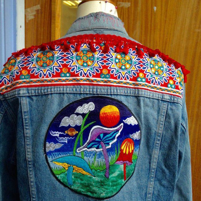 denim jacket mushroom embroidery