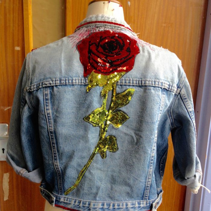 denim jacket sequin rose 2