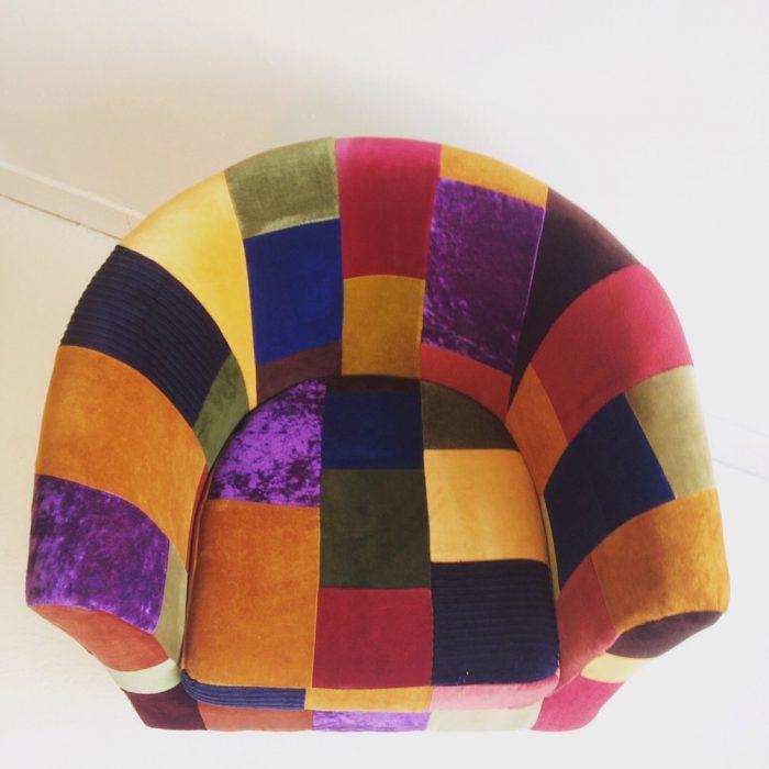 brighton vintage velvet patchwork upholstery armchair