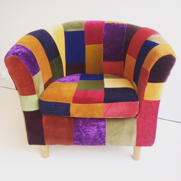 brighton upcycled patchwork upholstery armchair