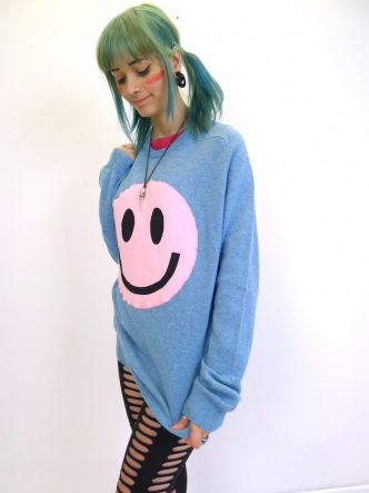 upcycled acid smiley pink on blue jumper