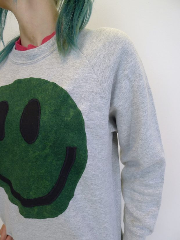 upcycled acid smiley green on grey sweatshirt