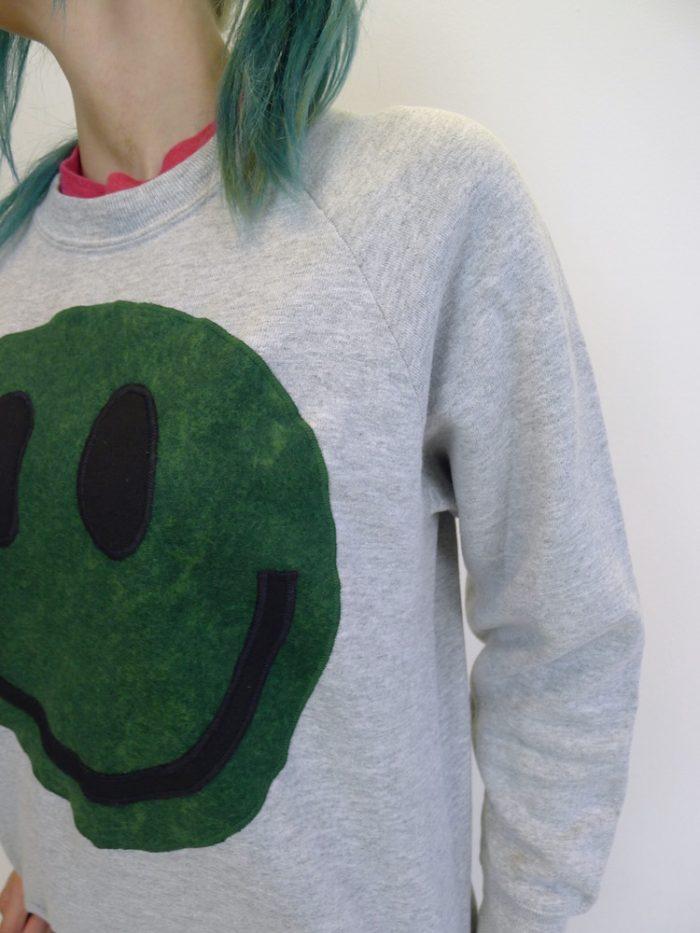 upcycled acid smiley green on grey sweatshirt