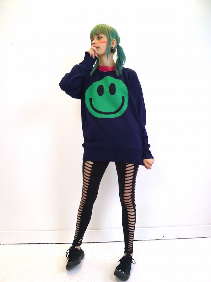 upcycled acid smiley green on navy sweatshirt
