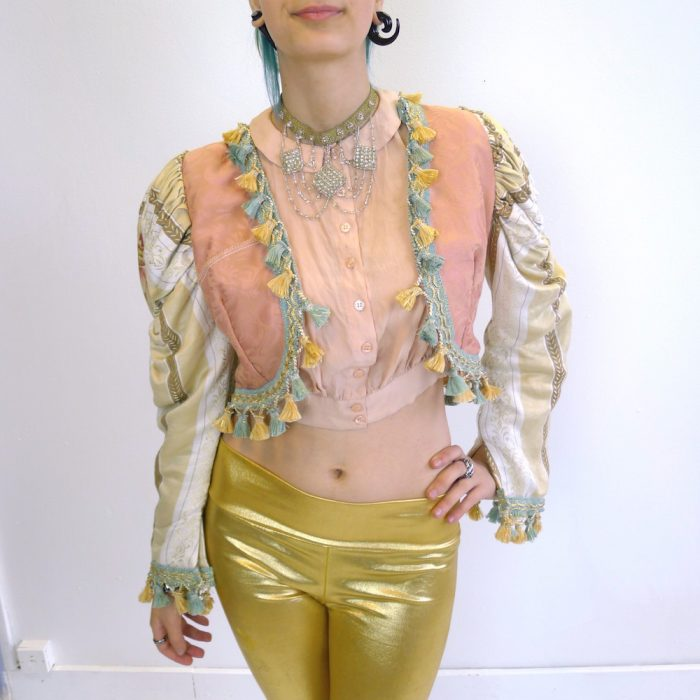 Cream Gold Teal Pink Upcycled Mutton Sleeve Statement Tassel Jacket