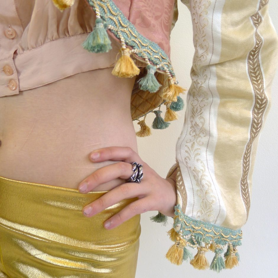 Cream Gold Teal Pink Upcycled Mutton Sleeve Statement Tassel Jacket Sleeve