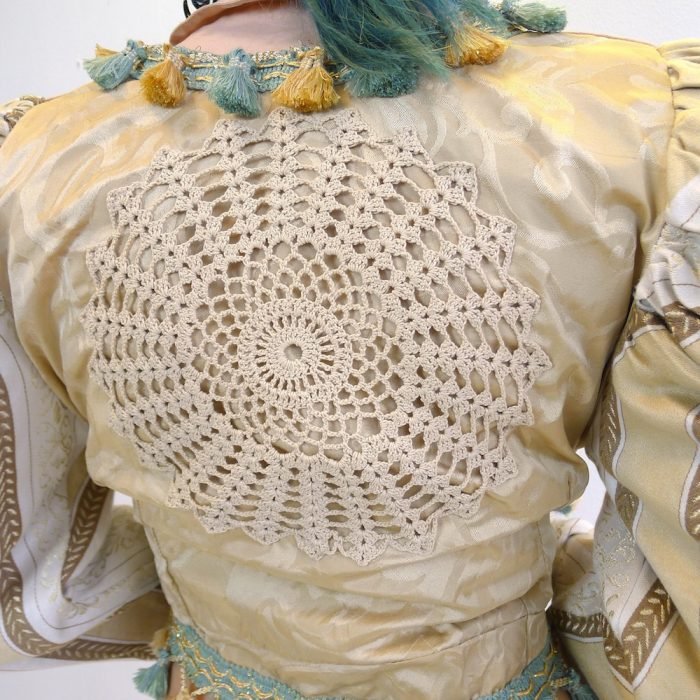 Cream Doily Gold Teal Upcycled Mutton Sleeve Statement Tassel Jacket