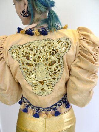 Upcycled Mutton Sleeve Statement Tassel Jacket with Gold Sequin Leopard