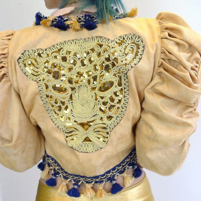 Cream Gold Navy Upcycled Mutton Sleeve Statement Tassel Jacket Sequin Leopard
