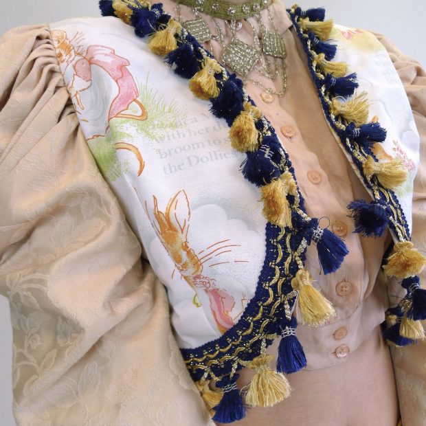 Upcycled Mutton Sleeve Statement Tassel Jacket