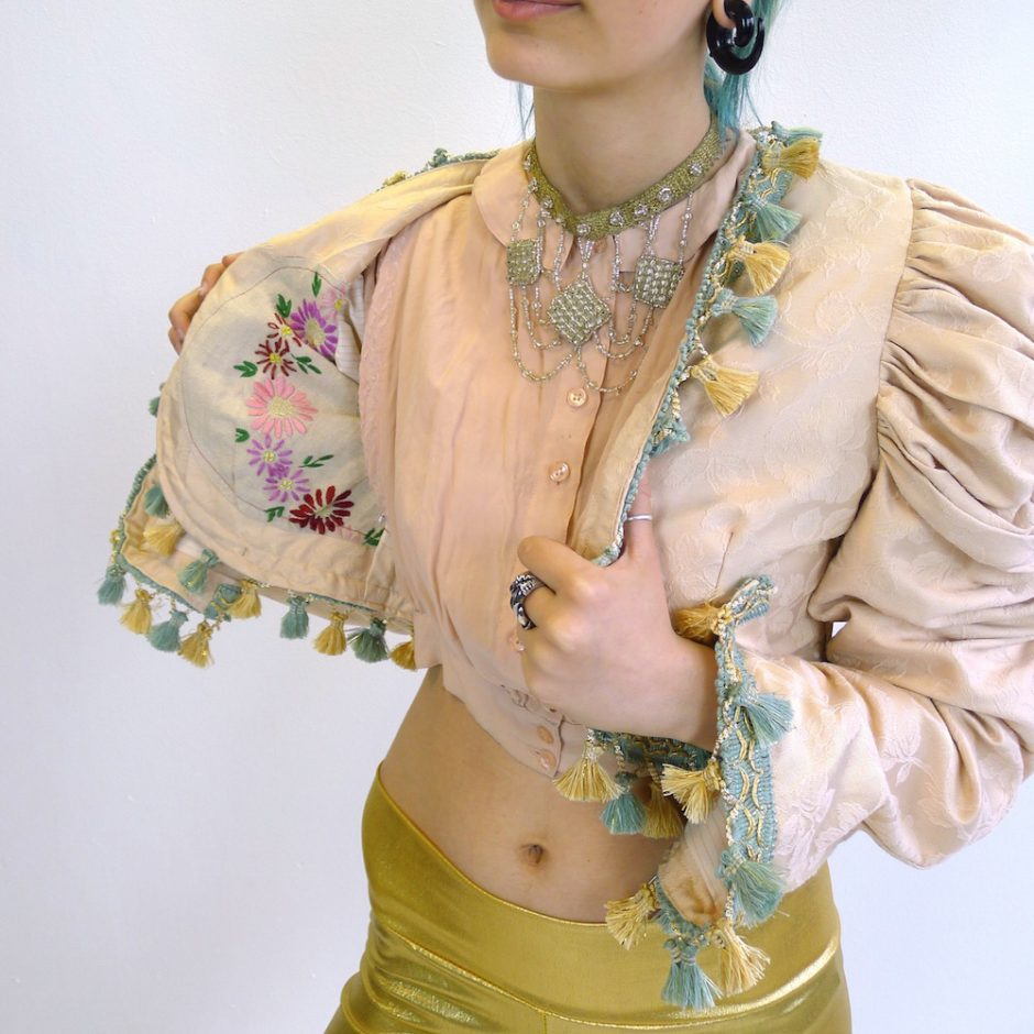 Cream Gold Teal Upcycled Mutton Sleeve Statement Tassel Jacket with Floral Lining