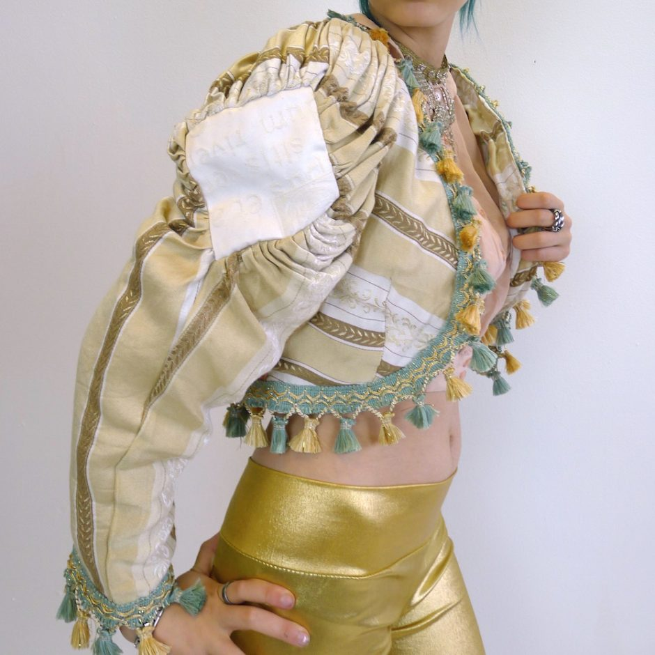 Cream Gold Teal Upcycled Mutton Sleeve Statement Tassel Jacket