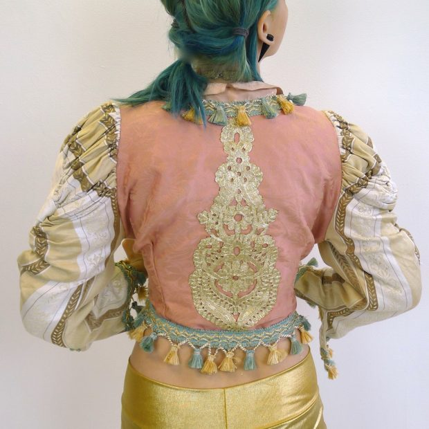 Upcycled Mutton Sleeve Statement Tassel Jacket Gold Embroidery