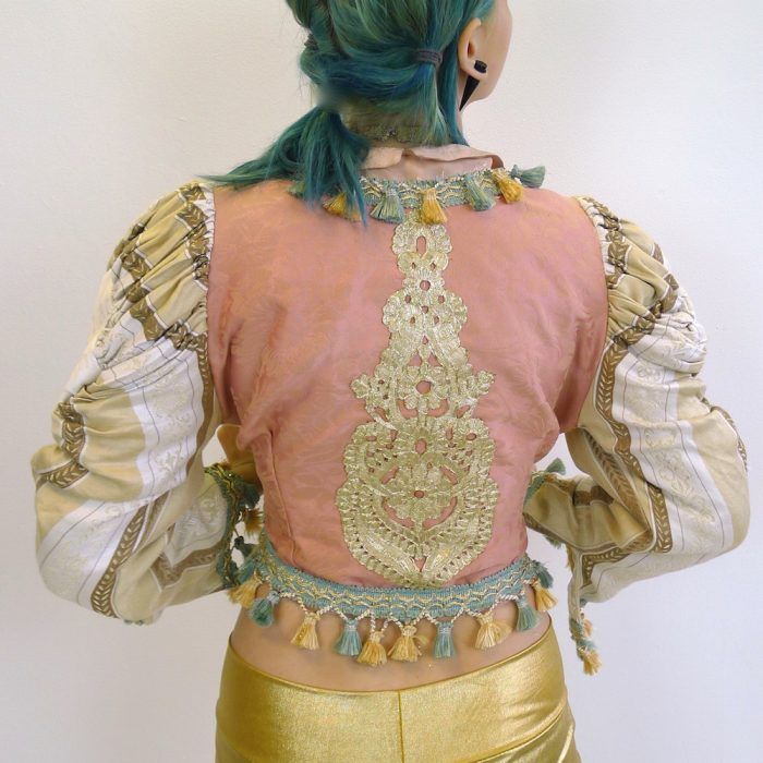 Cream Gold Teal Pink Upcycled Mutton Sleeve Statement Tassel Jacket Gold Embroidery